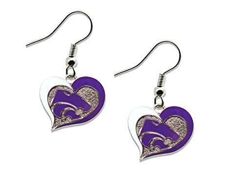 - NCAA Kansas State Wildcats Swirl Heart Earrings