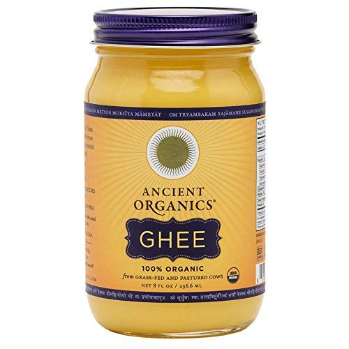Organic Original Grass-fed Ghee, Butter by ANCIENT ORGANICS, 8 oz., Pasture Raised, Non GMO, Lactose - Casein - Gluten FREE, Certified KOSHER - 100% Organic Certified - USDA Approved (In Gift Box) (Indian Rice Grass)