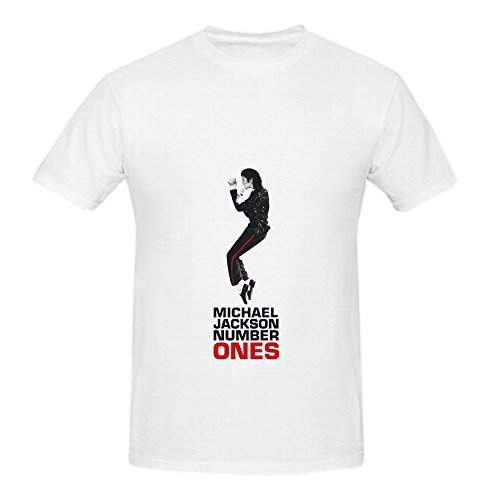 Michael Jackson Number Ones Rock Mens Crew Neck Slim Fit Shirts White