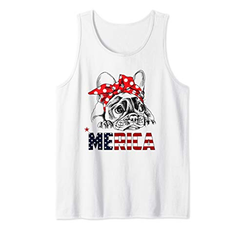 French Bulldog American Flag Shirt Frenchie 4th of July Gift Tank - Tank Bulldog