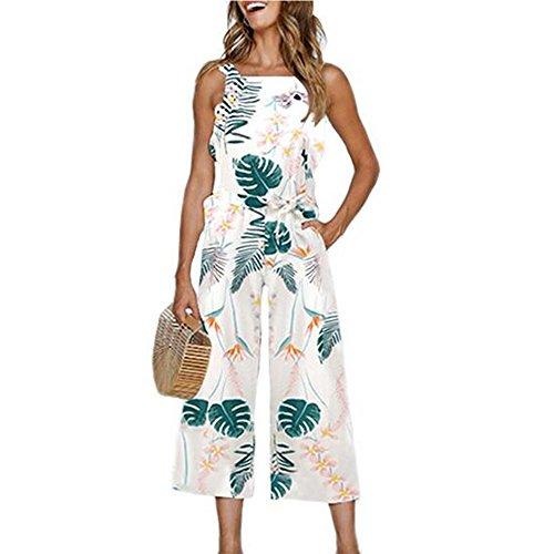 de5a2ec861a5 INIBUD Jumpsuits for Women Floral Waist Tie Wide Leg Cute Loose (Leaf