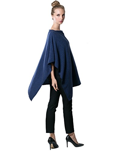 Anna Kristine Asymmetrical 100% Cashmere Draped Poncho Dress Topper – Denim Blue