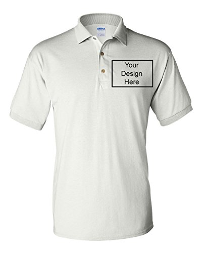 (Add Your Own Text Design Custom Personalized Polo Adult Collar Shirt (Large, White))