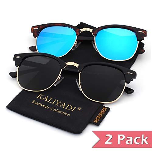 - Semi Rimless Polarized Sunglasses for Mens Clubmaster Sunglasses Womens:UV400 Protection