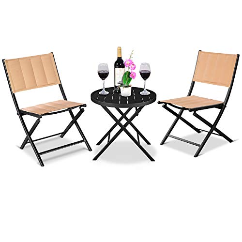 Giantex 3PCS Patio Folding Table Chairs Furniture Set Bistro Garden Steel