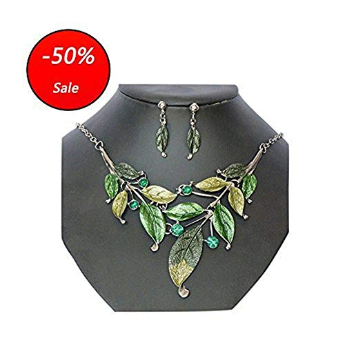 Seven And Eight S&E Women's Exaggerative Vintage Leafs Shape Crystal Joint Chain Collar Pendant Necklace Sets (Green)