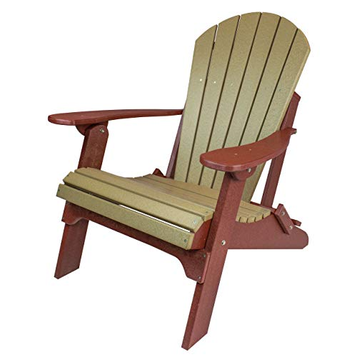 Amish Made Poly Folding Adirondack Chairs (Weatherwood on Cherry)