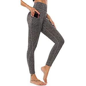AOOM Women Yoga Pants with Side Pockets Sports Workout Running Yoga Leggings (Grey,XL)