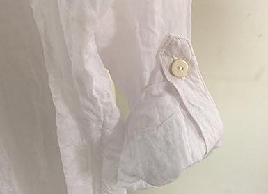6ddcc322f8441 Mujer Blusas De Elegantes Moda Vintage Lino Camisa Manga Larga Stand Dulce  Lindo Chic Color Sólido Casual Anchas Primavera Verano Tops Blusones   Amazon.es  ...