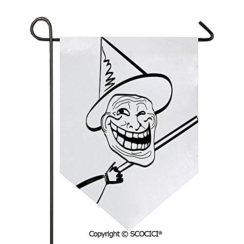 SCOCICI Easy Clean Durable Charming 12x18.5in Garden Flag Halloween Spirit Themed Witch Guy Meme LOL Joy Spooky Avatar Artful Image,Black White Double Sided Printed,Flag Pole NOT Included -
