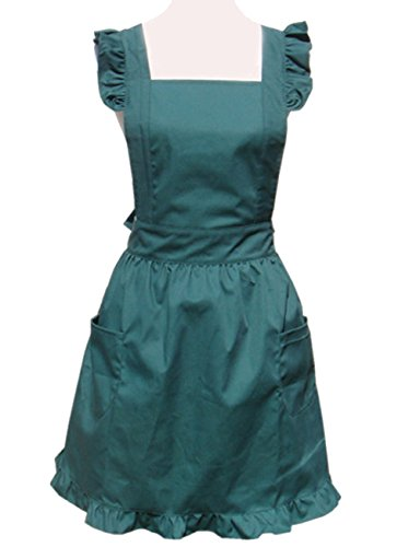 Hyzrz Cute Lovely Cotton Retro Kitchen Cooking Aprons for Women Girls Vintage Baking Sexy Victorian Apron with Pockets for Gift (Green)
