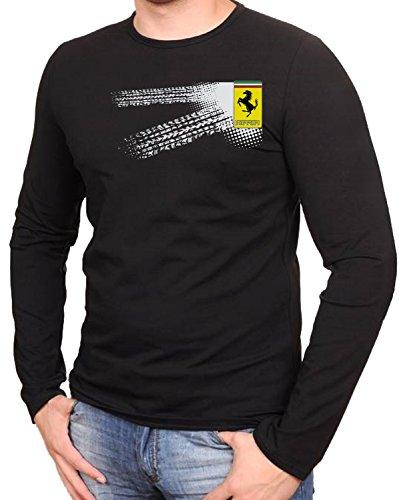 Ferrari - Auto Logo car Schwarze Langarmshirt vor Fun -626-LA