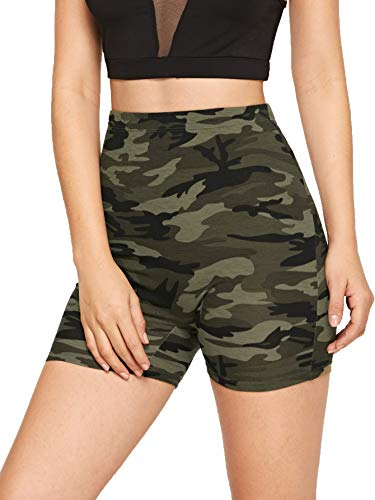SweatyRocks Women's Sexy Lace Trim Slip Shorts Yoga Bike Active Short Leggings (Medium, Camo)