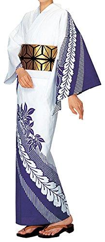 踊り衣裳 反物 大印 本絵羽ゆかた 白×紫 メンズ レディース