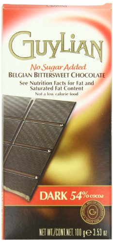 Guylian Dark Chocolate No-Sugar Added Bar, 3.53-Oz  Boxes (Pack of 6)