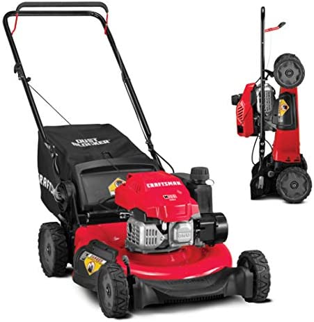 CRAFTSMAN 11A-U2V2791 3-in-1 149cc Engine Gas Powered Push Lawn Mower with Vertical Storage – Contractable Mower for Ease of Storage, Liberty Red,Red and Black