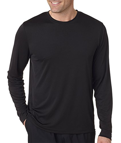 Hanes Mens Long Sleeve CoolDRI Performance T-Shirt -Black XL