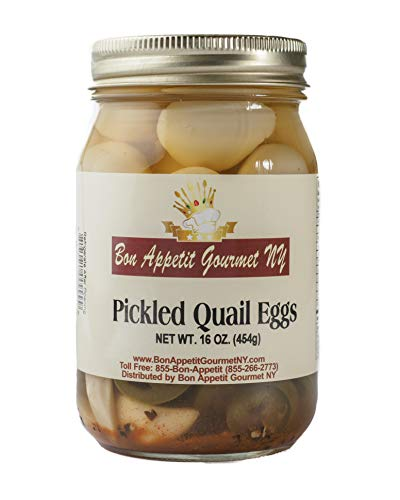 Pickled Gourmet (Spicy Pickled Quail Eggs by Bon Appetit Gourmet NY - 16oz Jar)