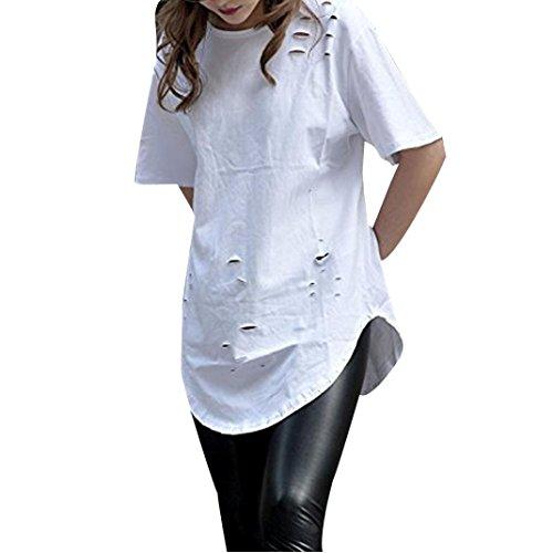 Lisingtool Women's Loose Hole Short Sleeve T Shirt Tops (M, White)
