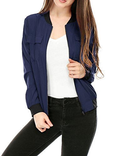 [Allegra K Women Multi-Pocket Zip Fastening Lightweight Bomber Jacket XS Blue] (Lightweight Flight Jacket)