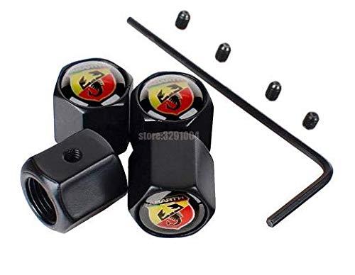 Set mit 4 Ventilkappen aus Aluminium Schwarz Scorpion mit Diebstahlsicherung VB-ABA