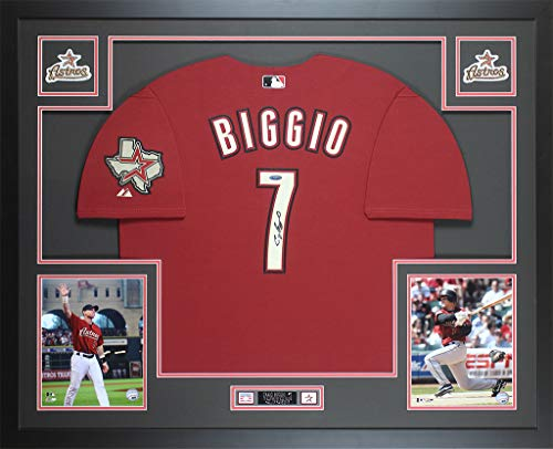 Craig Biggio Autographed Brick Red Houston Astros Jersey - Beautifully Matted and Framed - Hand Signed By Craig Biggio and Certified Authentic by Tristar - Includes Certificate of -