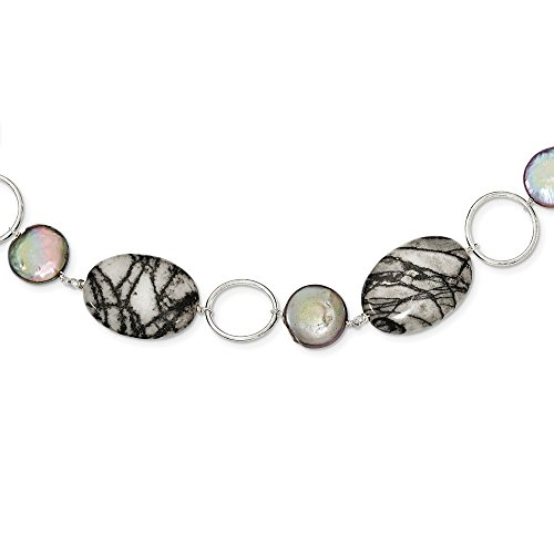 - JewelryWeb Sterling Silver Fancy Lobster Closure Circles Freshwater Coin Cultured Pearl and Zebra Jasper Necklace - 16 Inch