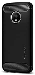 Spigen Rugged Armor Moto G5 Plus Case with Resilient Shock Absorption and Carbon Fiber Design for Moto G5 Plus - Black