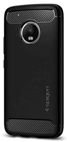 Price comparison product image Spigen Rugged Armor Moto G5 Plus Case with Resilient Shock Absorption and Carbon Fiber Design for Moto G5 Plus - Black