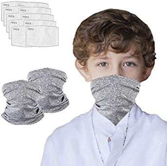 Multi-purpose Face Cover Neck Gaiter with 10pcs Activated Carbon Filters
