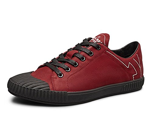 MUYII Hommes Oxfords Chaussures En Cuir Pour Hommes Lace-up Plain Toe Shoes Classic Casual Sport Hommes Chaussures Confortables Red S9Y604rIQ