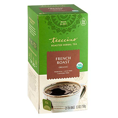 Teeccino Herbal Tea – French Roast – Rich & Roasted Herbal Tea That's Caffeine Free & Prebiotic for Natural Energy…
