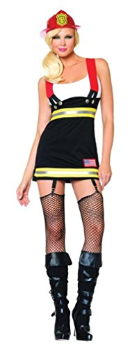 Fire Costumes Woman (Leg Avenue Women's Backdraft Babe Firefighter Costume, Black/White,)
