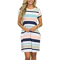 Flovey Womens Short Sleeve Stripe Color Block Casual Loose T-Shirt Midi Dress with Pockets