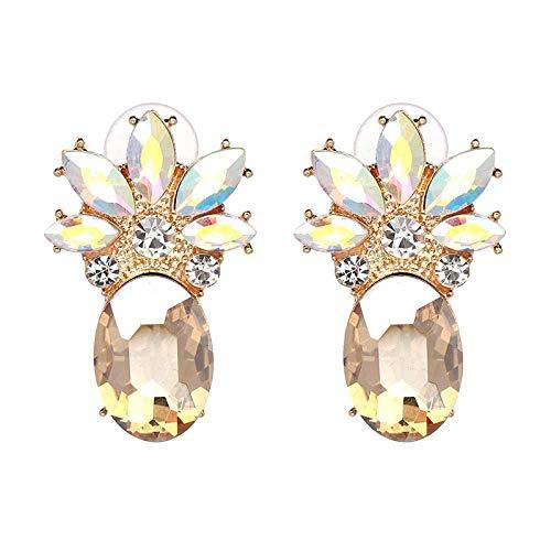 Whawhodp 2019 New Cute Fashion Earings Pineapple Earrings Crystal Stud Champange