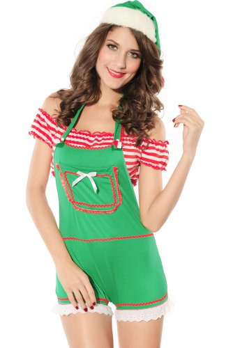 DarlingLove Women's 3PC Enticing Elf Christmas Costume 2014