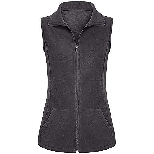 (URIBAKE ❤️ Women's Lapel Waistcoat Fleece Lightweight Winter Warm Zipper Pockets Sleeveless Vest Jacket Coat Gray)