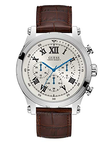 GUESS Men's Quartz Stainless Steel and Leather Watch, Color:Brown (Model: ()