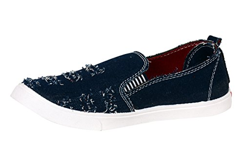 Men's Shoes Loafers Footwear Rugged Torn Indigo Blue Denim Fabric Comfort Stylish Slip On Dress Casual