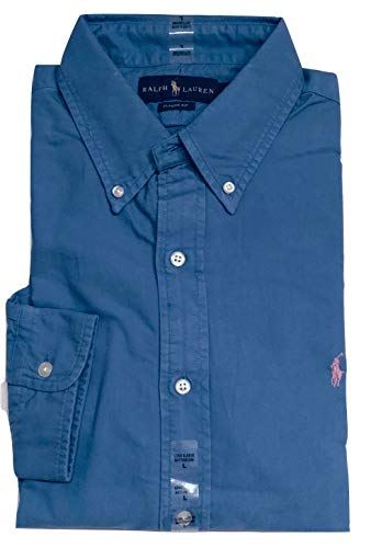 Ralph Lauren Polo Mens Solid Oxford Pony Shirt Button-Down (Blue/Pink Pony, Large) ()