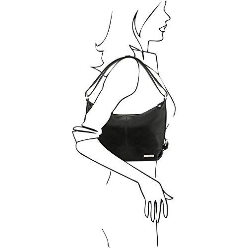 pelle donna Nero di TL141479 Leather Borsa Sabrina Testa Tuscany in Moro da wP64FITFqY