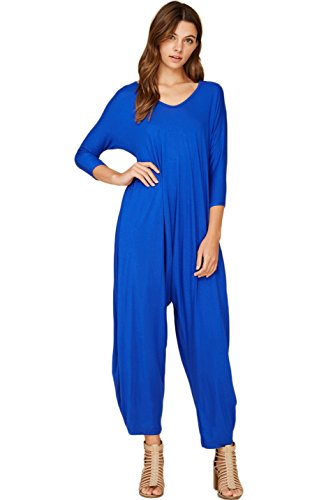 e2221a63ea17 Annabelle Women s Long Sleeve Comfy Harem Jumpsuit Overall Rompers ...