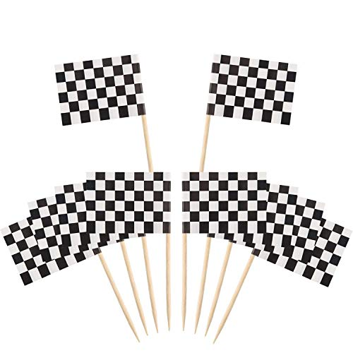 Pangda 200 Pack Checkered Toothpick Flag Party Cupcake Picks Fruit Sticks for Cupcakes Cake Toppers Decorations (Checkered)