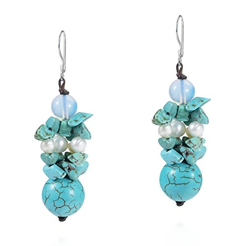Moon Drop Simulated Turquoise and Cultured Freshwater Pearl .925 Sterling Silver Earrings