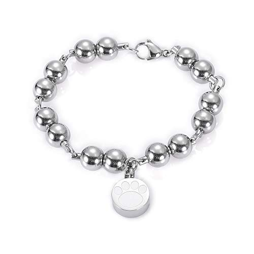 - Men's Stainless Steel Heavy Metal Ball Chain Bracelets | Cremation Bracelets Jewelry | with Paw Print Memorial Charm | for Pet