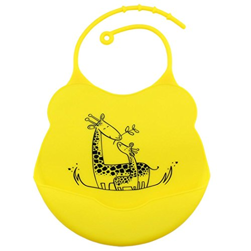 Nikuya Baby Infants Kids Waterproof Silicone Bibs Lunch Bib Premium Cute Comfortable Soft Easily Wipes Clean Keep Stains Off with Large Pocket for Toddlers Water resistant Food Catcher Bibs (Yellow)