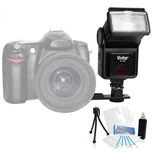Lcd Package - UltraPro Digital Pro Slave Flash for the Nikon D40x, D60, D90s, D200, D3x Digital SLRs. UltraPro BONUS BUNDLE Included: Mini Travel Tripod, LCD Screen Protector, Camera Cleaning Package