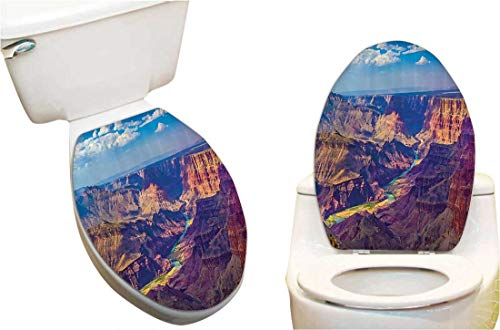 (SeptSonne Toilet Cover Sticker Aerial of Epic Grand Cany Activity of River Stream Over Rock Plateau Creative Toilet Cover Stickers 14