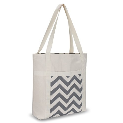 Kuzy - Gray Chevron Zig-Zag Beach Bag Handmade from Heavy Canvas Cotton (Size 17x15-inch) for MacBook and Laptop, Book Travel Bags - Grey by Kuzy