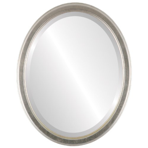 Cheap Decorative Mirror for Wall | Framed Oval Beveled Wall Mirror | Toronto Style – Silver Leaf with Brown Antique – 18×22 outside dimensions